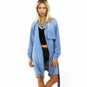 Anthropologie Cloth & Stone Chambray Trench Jacket